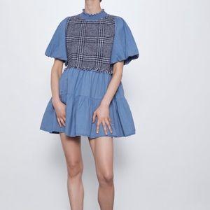 Chambray Denim Balloon Sleeve Tweed Zara NWT Fringe Contrast Frill Dress Small